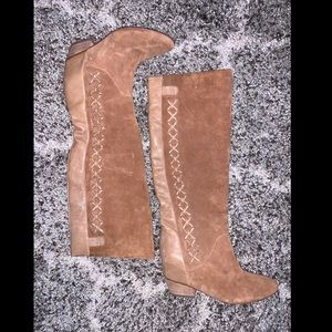 Gianni Bini Tan Suede and Leather Boots